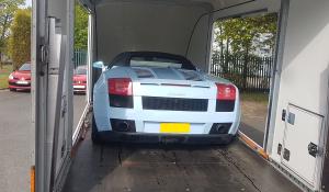 BSM Covered Enclosed Car Transport London England Lamborghini Blue
