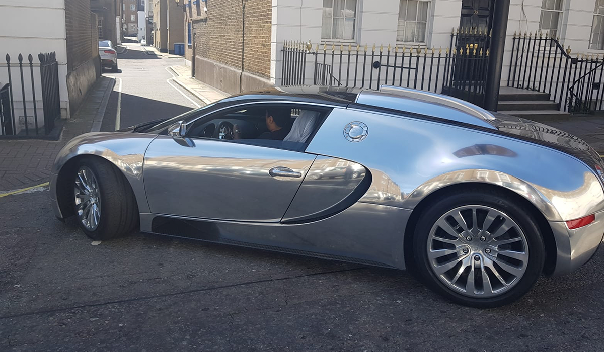 BSM Covered Enclosed Car Transport London England Bugatti Veyron Chrome