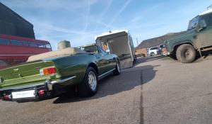 BSM Covered Enclosed Car Transport London England Aston Martin Vintage