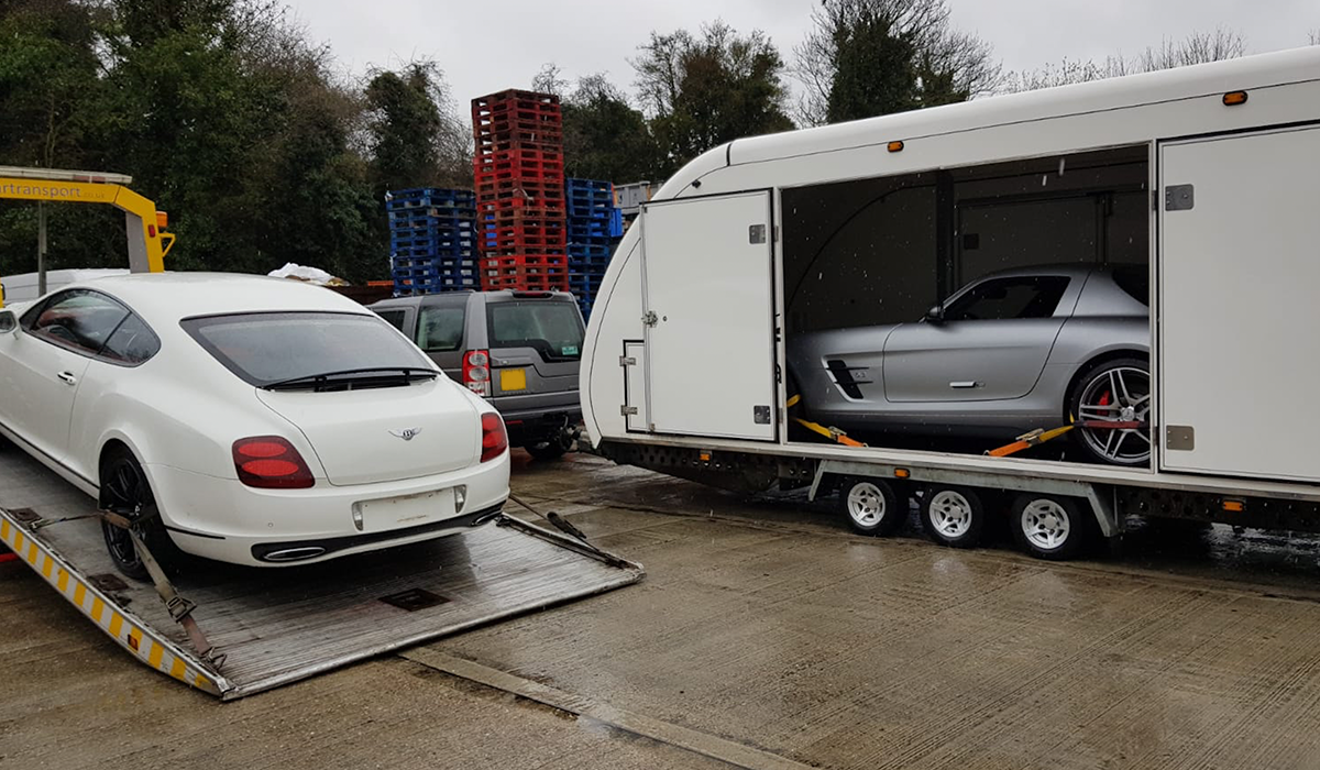 BSM Covered Enclosed Car Transport London England Mercedes Bentley