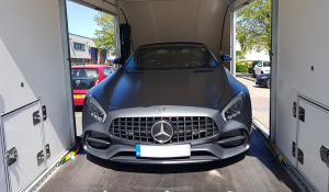 BSM Covered Enclosed Car Transport London England Luxury Mercedes Gray