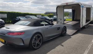 BSM Covered Enclosed Car Transport London England Luxury Mercedes GTc