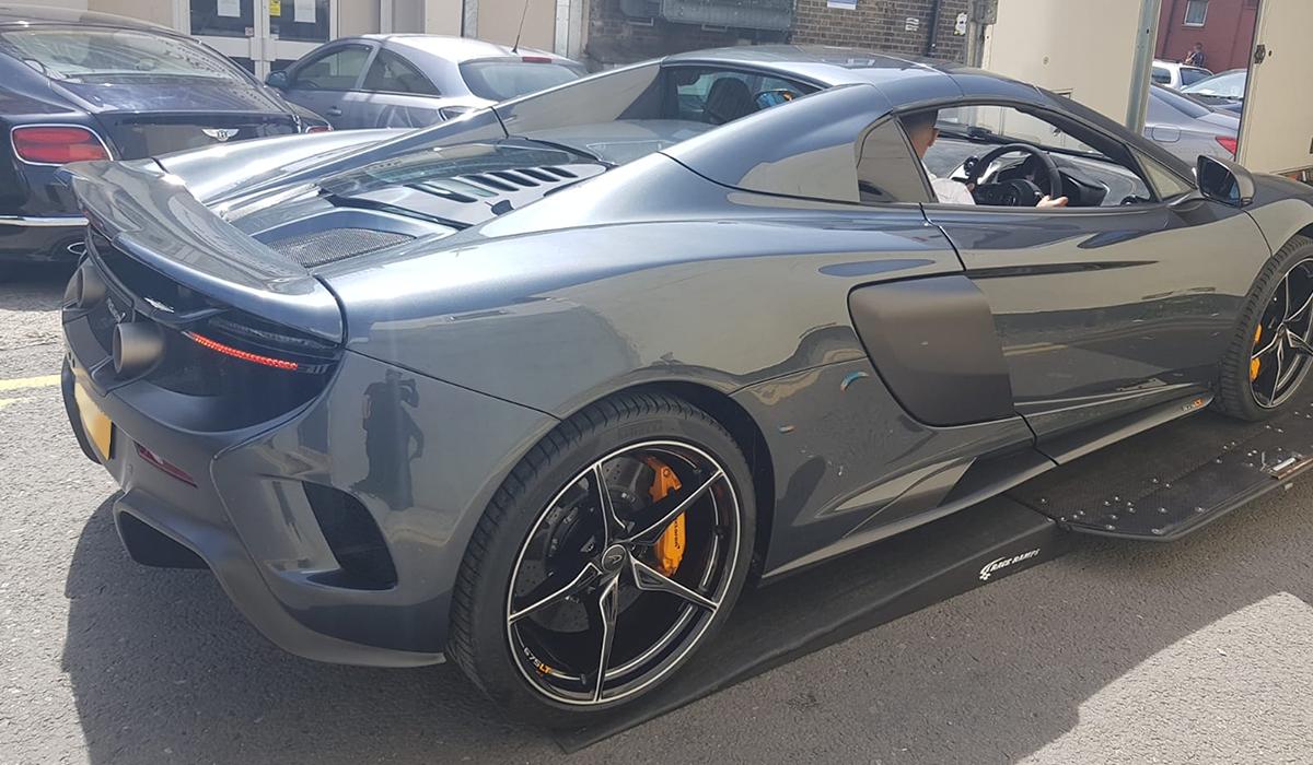 BSM Covered Enclosed Car Transport London England McLaren Sport