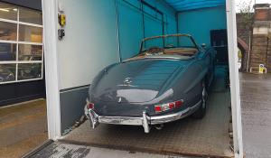 BSM Covered Enclosed Car Transport London England Mercedes Classic Vintage