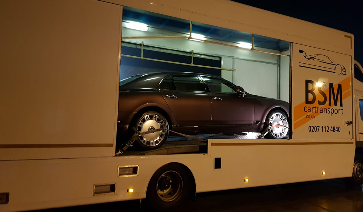 BSM Covered Enclosed Car Transport London England Night Recovery