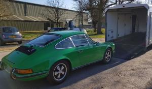 BSM Covered Enclosed Car Transport London England Porsche Classic Green