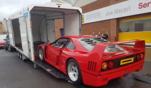 BSM Covered Enclosed Car Transport London England Red Ferrari Classic
