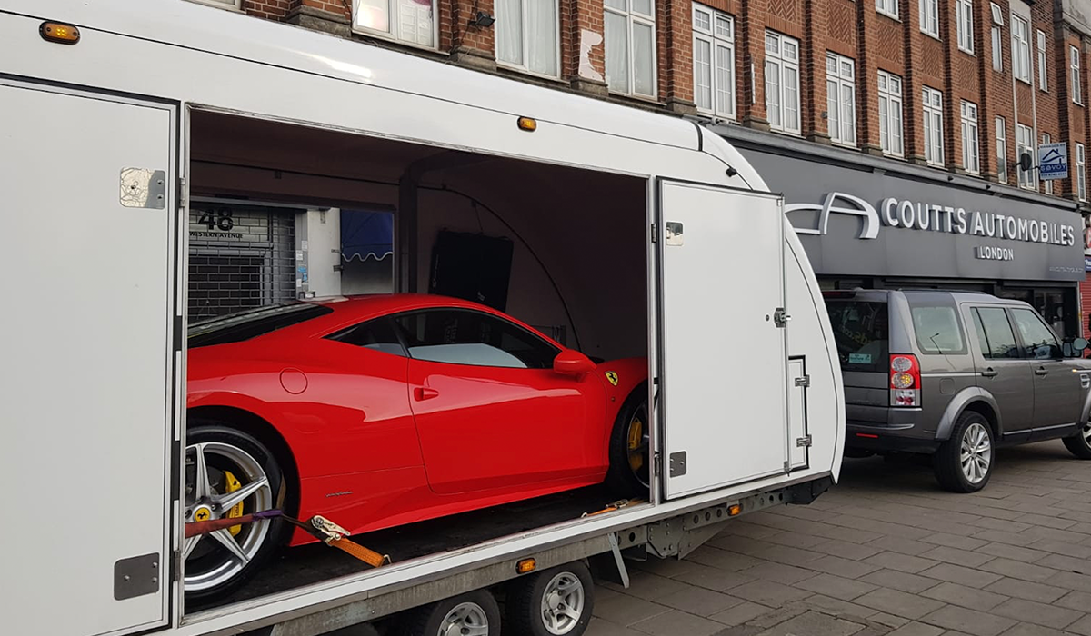 BSM-Covered-Enclosed-Car Transport London England Red Luxury Ferrari