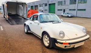 BSM Covered Enclosed Car Transport London England White Classic Porsche